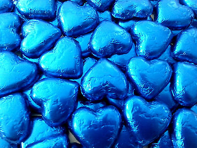 100 Pieces Pink Lady Blue Milk Chocolate Hearts - Wedding Favour Lollies