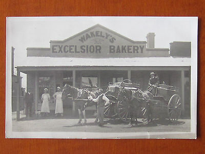 1911 Australia NSW Lismore VINTAGE RP Postcard WAKELY'S EXCELSIOR BAKERY Advert