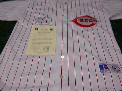 Pete Rose  Hand Signed Certified Stats Reds Jersey