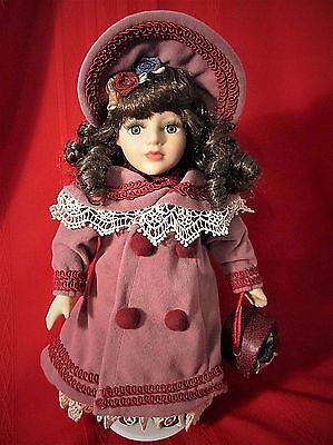 "Limited Edition Collectors Choice Porcelain 12"" Doll with Hat Box & Stand"