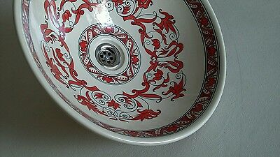 Porcelain/ceramic wash basin. Red carnival 100% PROFESSIONALLY HAND PAINTED