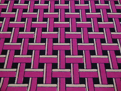 Vintage 70's Pink White & Navy Blue Geometric Check Drill Cotton Dress Fabric.