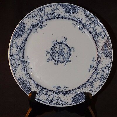 """ANTIQUE WEDGWOOD MALTESE BLUE & WHITE TRANSFER WARE FLORAL PATTERN 9 1/2"""" 1800's"""