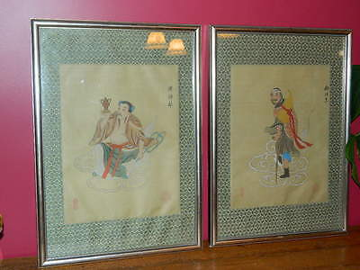 Vintage Chinese Paintings On Silk Set Of Two Man Sitting & Man With Cane 11 X 14