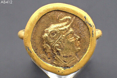 Lovely Old Gold Plated Roman Ceasar Coin Wonderful Gold Cap Ring #412