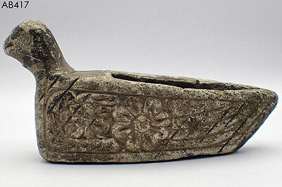 Ancient Rare Bactrian Decorated Oil Lamp with Bird Head #417