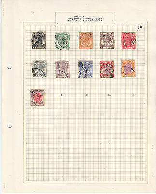 STRAITS SETTLEMENTS 1936 George V  Old Album Page FINE USED...