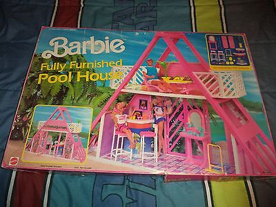 Vintage-Barbie Fully Furnished Pool House Complete in box