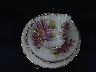 """Royal Stafford """"Aster"""" Design Teacup, Saucer and Plate"""