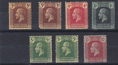 Cayman Islands 1921 - 26  S G 60 - 67  Values To Ten Shilling M H Cat £200+