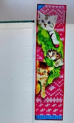 Wicoart Marque Page Effet Faux Stained Glass Peint Main Christmas Noel Chatons
