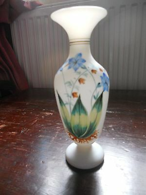glass hand painted with flowers vase 6.50 inch