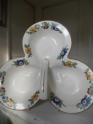 shamrock shaped china dish By Crown ducal England