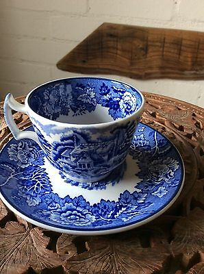 Woods Blue And White Cup And Saucer