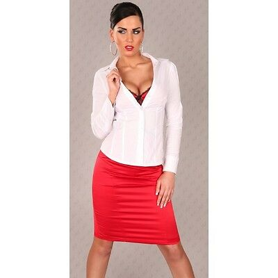 Chemise femme sexy business manches longues blanche taille 36 NEUVE