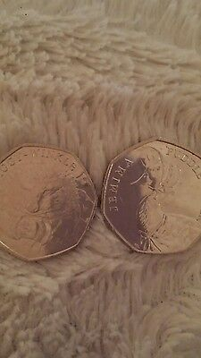 Beatrix Potter Jemima Puddle duck & Mrs Tiggy Winkle 50p coin