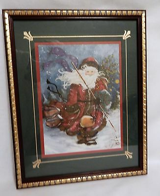 "Winter Santa in a snow storm Picture Home Interiors 12"" x 15"""