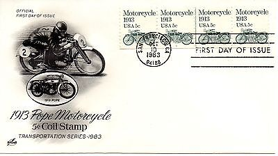 US FDC #1899 Motorcycle PNC Plate 1, ArtCraft (5807)
