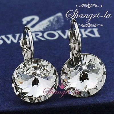 9K 9CT White GOLD GF Womens EARRINGS Genuine SWAROVSKI CRYSTAL TE417 Wedding