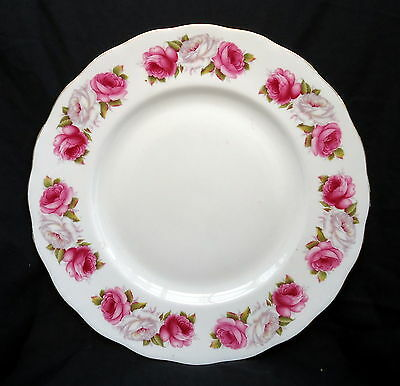 """Queen Anne Dinner  Plate """" Princess Roses """" Size 27 cm. .. ... .... ..... ......"""