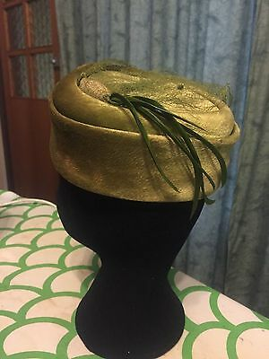 Vintage Olive Green Velour Hat Feathers Netting 40s 50s