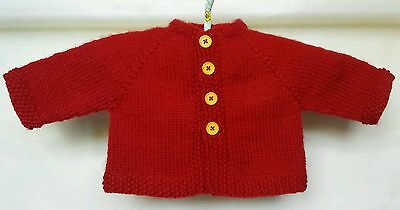 Baby Hand Knitted Red Cardigan/Jacket Size newborn to 3 months