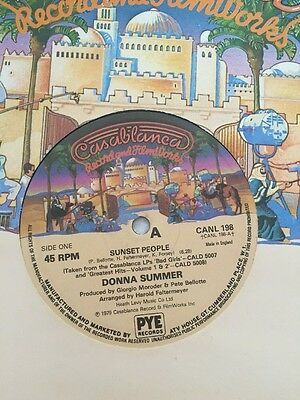"""DONNA SUMMER Sunset People/Our Love CAN 198 uk casablanca 1979 12"""" Disco"""