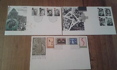3 Australia 1993 & 1995 First Day Covers unaddressed. CV $28.00