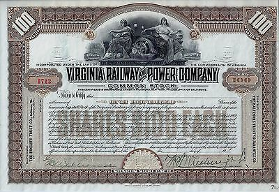 Virginia Railway and Power Company (100 Shares, Blankette / not issued)