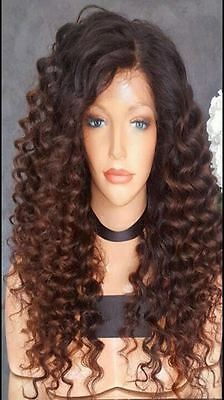 """18"""" Virgin Brazilian Human Hair Ombre Lace Front Wig, 180% Density"""