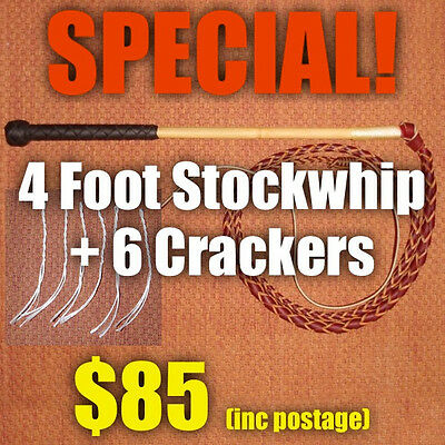 SPECIAL! StockWhip 4 foot 4 Plait Red Hide + Crackers - Brian Nemeth Design