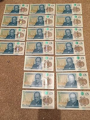 Set Of 18 Brand New Aa60 5 Pound British Notes In Order