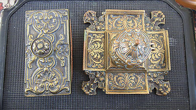 Ornate Brass Inkwell With  Liner & Ornate Brass  Ink Blotter Not Matching