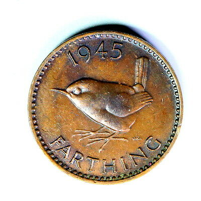 1945 George V  Farthing,unc, Super Coloured Lustre A19 1/4 Penny ,see Photos