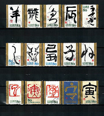 Japan, Eto Calligraphy, used stamps.
