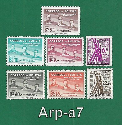 (BL-45) Bolivia of 7 stamps MNH The anniversary  the revolution of 9 April 1953