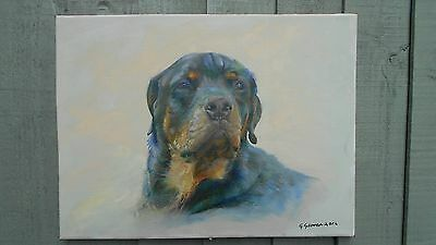 oil painting of rottweiler dog