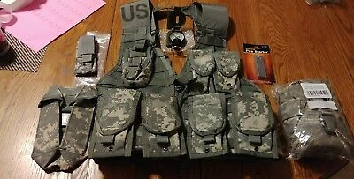 MOLLE II ACU FLC Vest with 5 Double Mag pouches .223/5.56 Canteen Pouch