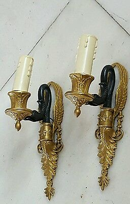 Pair of French Empire Gilt and Patinated Bronze Sconces Swan