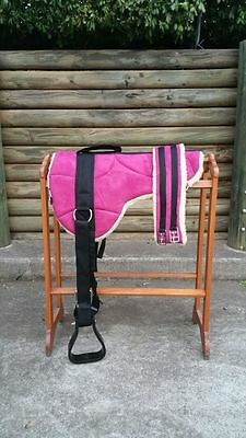 PINK-Micro suede BAREBACK PAD with Stirrup and girth