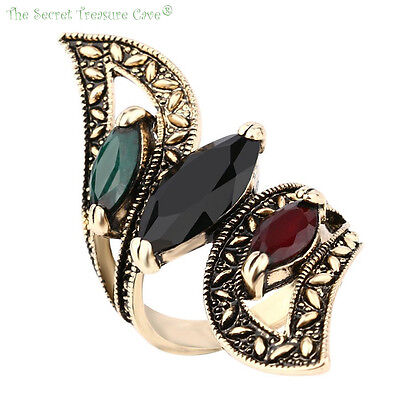 Rustic Gold Plated Style Emerald Onyx Ruby Resin Statement Turkish Hurrem Ring!