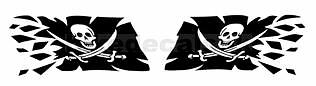2x LARGE RIPPING TEARING PIRATE FLAG DECALS / STICKERS