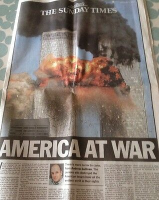 old newspaper Copy Of 'The Sunday Times'  Horrific Twin Towers ' America At War