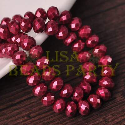 50pcs 6X4mm Pearl Like Rondelle Faceted Glass Loose Spacer Beads Wine Red