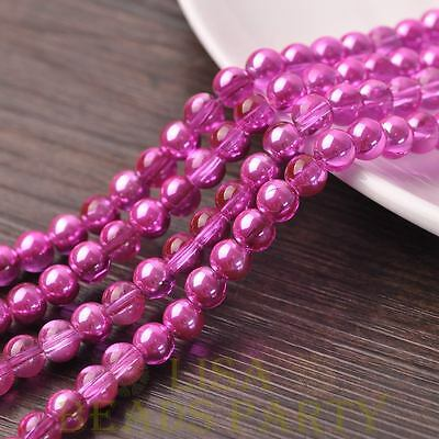 Hot 72pcs 8mm Round Glass Loose Spacer Beads Jewelry Making Deep Pink