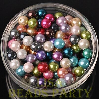 Hot 30pcs 8mm Round Glass Pearl Loose Spacer Beads Jewelry Making Mixed Color