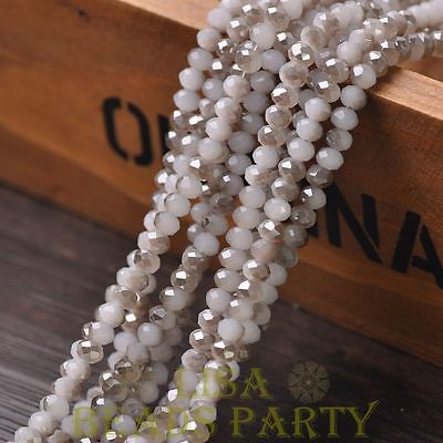 Hot 100pcs 4X3mm Glass Rondelle Faceted Loose Beads Jade White & Gray