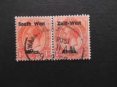 South West Africa - George V 1923 Pair Of One Penny Overprints Used