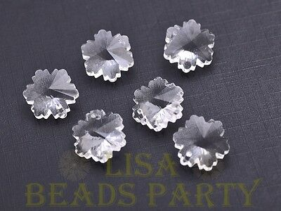 Hot 10pcs 14X7mm Snowflake Faceted Glass Pendant Loose Spacer Beads Clear