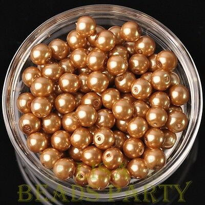 Hot 30pcs 8mm Round Glass Pearl Loose Spacer Beads Jewelry Making Gold